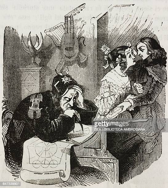 Laputian woman secluded to the side without her husband paying attention with a man coming from the continent illustration from Chapter Two Part III...