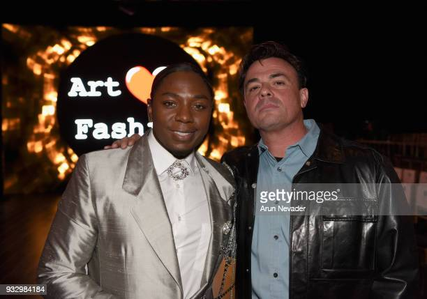 Laquan Brooks and Tom Desanto attend Los Angeles Fashion Week Powered by Art Hearts Fashion LAFW FW/18 10th Season Anniversary Backstage and Front...