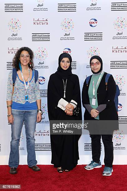 Lara Abu Saifan CEO of Doha Film Institute Fatma Al Remaihi and Niam Itami attend the premiere of 'Made in Qatar' during the Ajyal Youth Film...