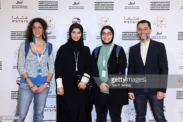 Lara Abu Saifan CEO of Doha Film Institute Fatma Al Remaihi Niam Itami and Doha Film Institute Senior Programmer Chadi Zeneddine attend the premiere...