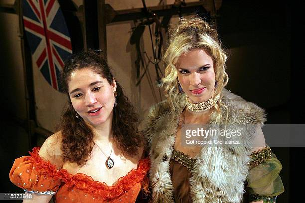 Lara Agar Stoby and Alexandra Aitken during Trelawny of the Wells Press Photocall at Finborough Theatre in London Great Britain