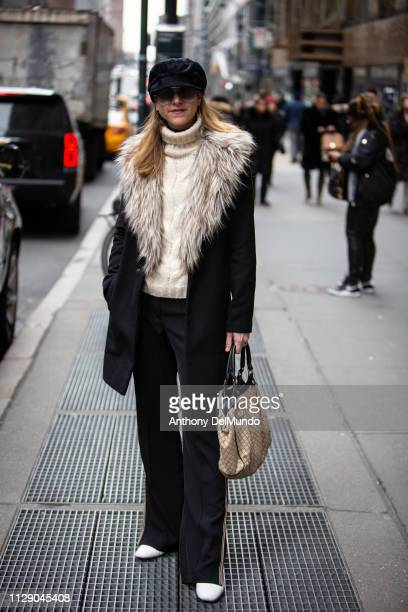 Lara Alccantara attends Dennis Basso fall 2019 runway show during New York Fashion Week held at Cipriani located at 110 E 42nd Street in New York on...