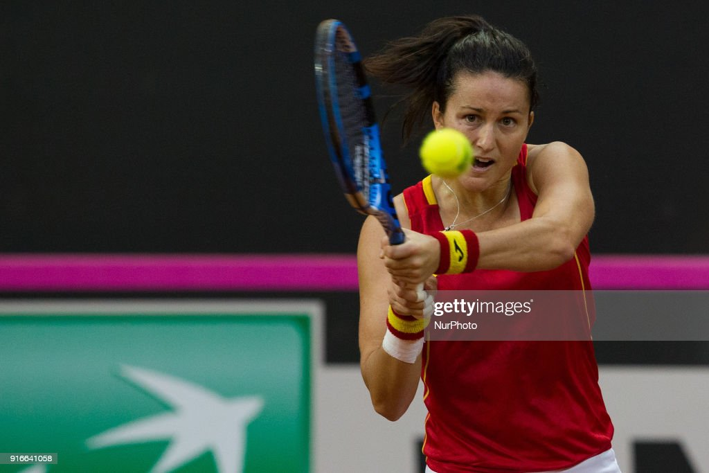 """Lara Arruabarrena during 2018 Fed Cup BNP Paribas World Group II First Round match between Italy and Spain at Pala Tricalle """"Sandro Leombroni"""" on February 10, 2018 in Chieti, Italy."""