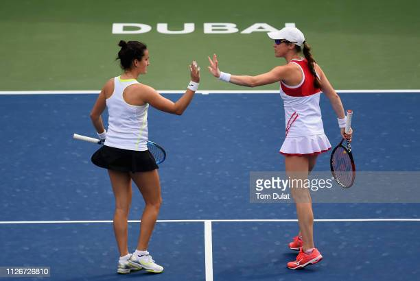 Lara Arruabarrena of Spain and Kaitlyn Christian of United States celebrate a point during their semi final match against Lucie Hradecka of Czech...