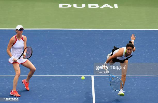 Lara Arruabarrena of Spain and Kaitlyn Christian of United States in action against Lucie Hradecka of Czech Republic and Ekaterina Makarova of Russia...