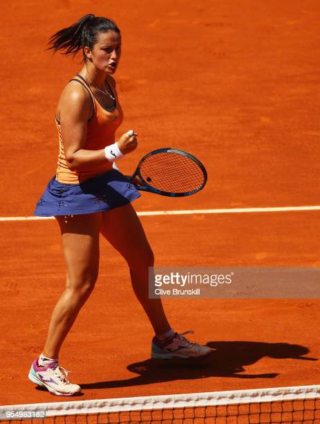 Lara Arruabarrena of Spain celebrates a point against Marta Kostyuk of the Ukraine in their first round match during day one of the Mutua Madrid Open...