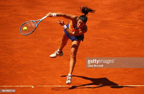 Lara Arruabarrena of Spain serves against Marta Kostyuk of the Ukraine in their first round match during day one of the Mutua Madrid Open tennis...