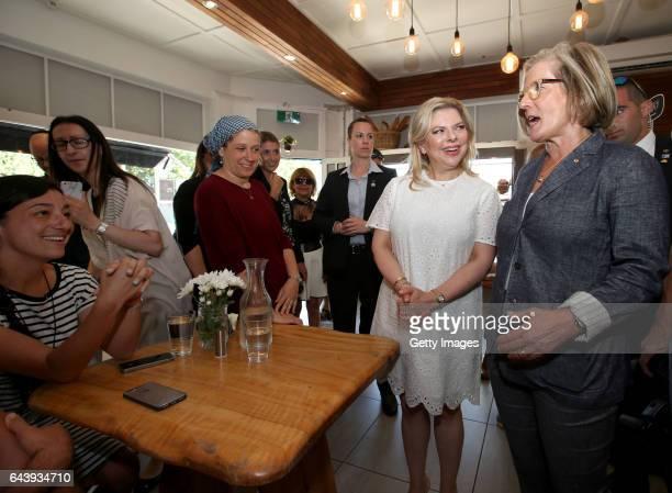 Lara Benjamin the wife of Israeli Prime Minister Benjamin Netanyahu and Lucy Turnbull wife of Australia's Prime Minister Malcolm Turnbull meet...