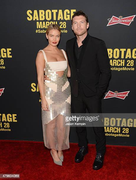 Lara Bingle and actor Sam Worthington attend the premiere of Open Road Films' 'Sabotage' at Regal Cinemas LA Live on March 19 2014 in Los Angeles...