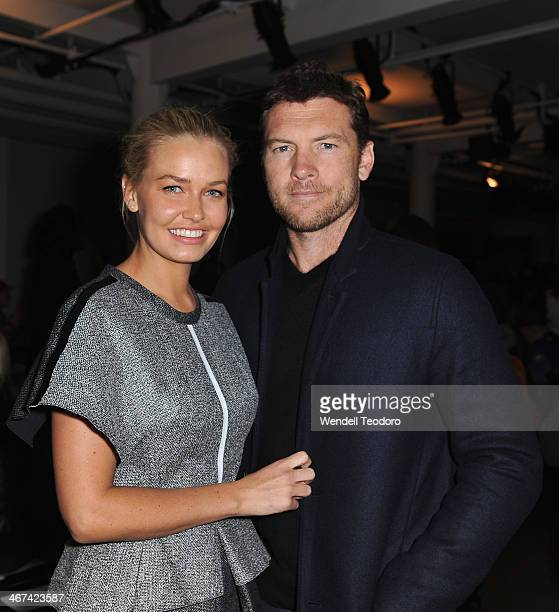 Lara Bingle and Actor Sam Worthington attends the Dion Lee show during MADE Fashion Week Fall 2014 at Milk Studios on February 6 2014 in New York City