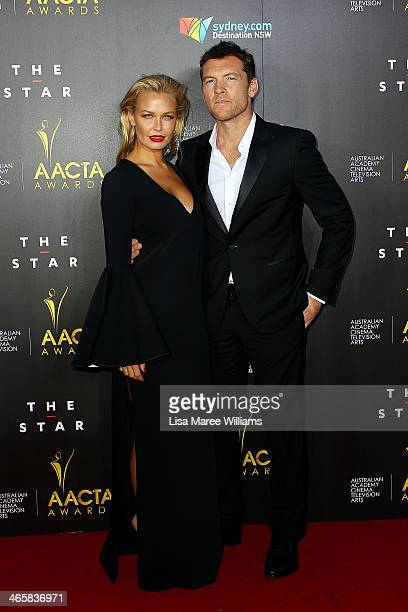 Lara Bingle and Sam Worthington arrive at the 3rd Annual AACTA Awards Ceremony at The Star on January 30 2014 in Sydney Australia