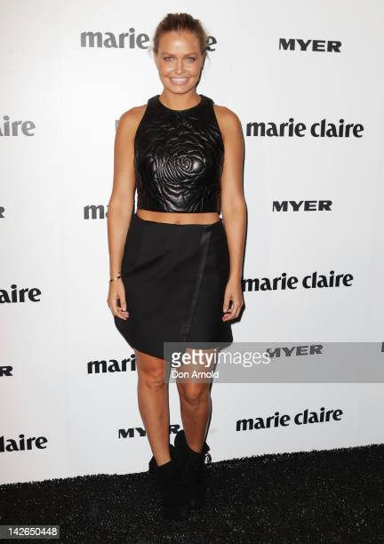 Lara Bingle arrives at the 2012 Prix De Marie Claire Beauty Awards at the Museum of Contemporary Art on April 11 2012 in Sydney Australia