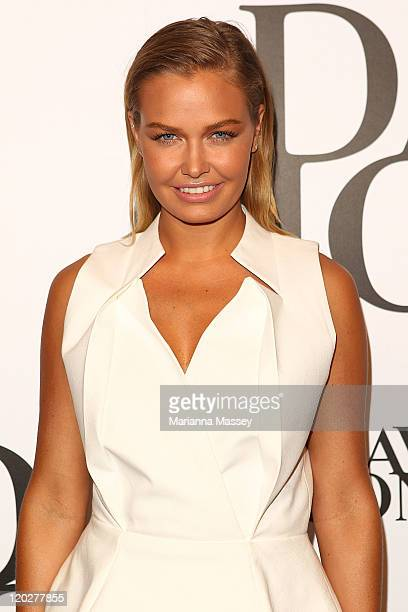 Lara Bingle arrives at the David Jones Spring/Summer 2011 season launch at the Royal Hall of Industries Moore Park on August 3 2011 in Sydney...