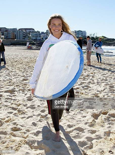 Lara Bingle attends the Celebrity Drop In for the new surfing TV series 'Next Wave' at Maroubra Beach on June 6 2009 in Sydney Australia The 9...