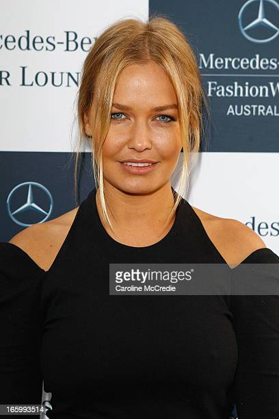 Lara Bingle attends the Official Welcome of MercedesBenz Fashion Week Australia Spring/Summer 2013/14 at Carriageworks on April 8 2013 in Sydney...