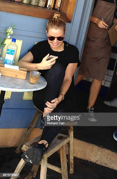 Lara Bingle is seen at 'Porch' cafe in Bondi on April 2 2014 in Sydney Australia