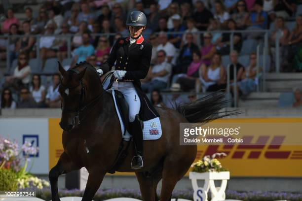 Lara Butler of England riding Hello Rubin al Asad during the dressage individual Final Grand Prix of Aachen Freestyle to music CDIO Deutsche Bank...