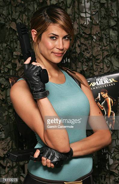 Lara Croft Karima Adebibe poses at the launch of Tomb Raider Anniversary on May 09 2007 in London England The game is set to hit the stores on 1st...