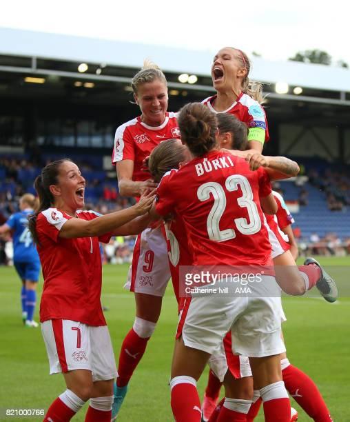 Lara Dickenmann of Switzerland Women celebrates with her team mates during the UEFA Women's Euro 2017 match between Iceland and Switzerland at...