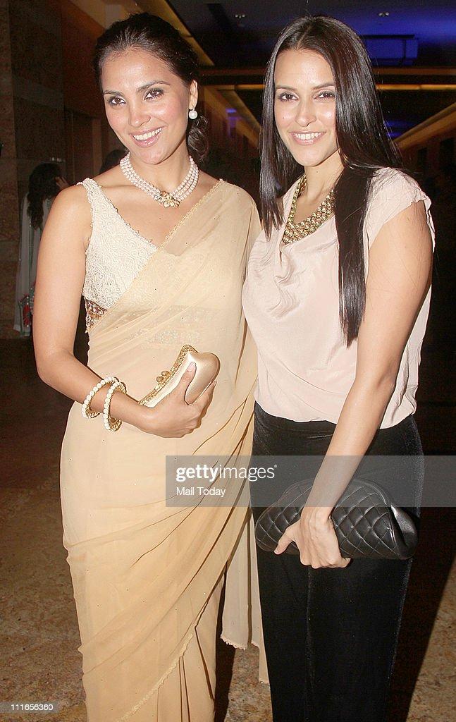 Lara Dutta and Neha Dhupia at Anmol jewellers` 25th anniversary bash at Grand Hyatt Mumbai