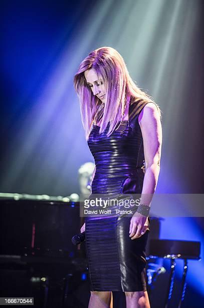 Lara Fabian performs at Theatre de Paris on April 15 2013 in Paris France