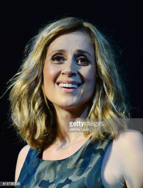 Lara Fabian performs onstage during Camouflage World Tour at Fillmore at Jackie Gleason Theatre on February 2 2018 in Miami Beach Florida