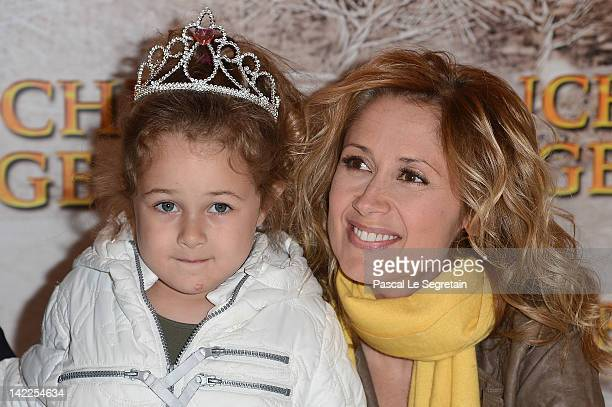 Lara Fabian poses with her daughter as they attend the 'Blanche Neige' Paris Premiere at Gaumont Capucines on April 1 2012 in Paris France