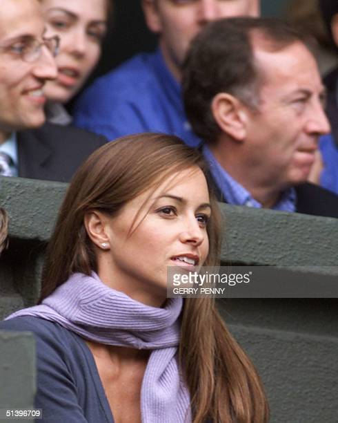 Lara Feltham girlfriend of Patrick Rafter watches the start of the Men's Singles final between Australian Patrick Rafter and Pete Sampras of the US...