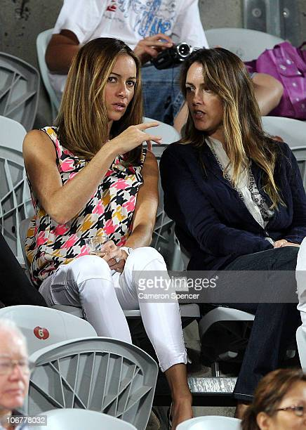 Lara Feltham wife of Pat Rafter watches the action during the match between Pat Rafter of Australia and Thomas Enqvist of Sweden during day two of...