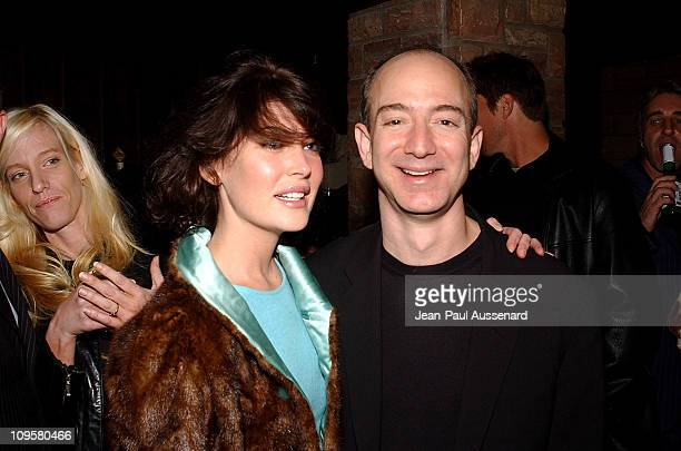 Lara Flynn Boyle and Jeff Bezos CEO of Amazon during Amazoncom Goes Hollywood for the Holidays Inside at Poolside at the Hollywood Roosevelt Hotel in...