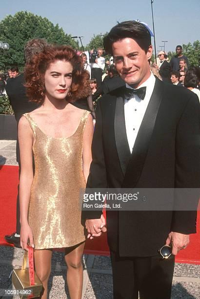 Lara Flynn Boyle and Kyle MacLachlan during 43rd Annual Primetime Emmy Awards Arrivals at Pasadena Civic Auditorium in Pasadena California United...
