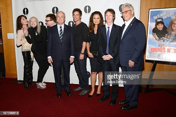 Lara Flynn Boyle Penelope Spheeris Mike Myers Lorne Michaels Rob Lowe Tia Carrere Dana Carvey and Hawk Koch attend the Academy of Motion Picture Arts...
