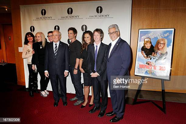 Lara Flynn Boyle Penelope Spheeris Mike Myers Lorne Michaels Rob Lowe and Dana Carvey attends the Academy Of Motion Picture Arts And Sciences Hosts A...