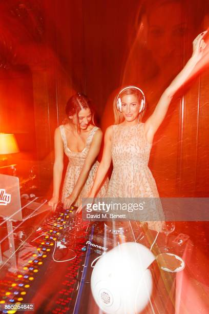 Lara Fraser and Laura Pradelska of The Lallas attend the launch of Ten Trinity Square Private Club on September 28 2017 in London England