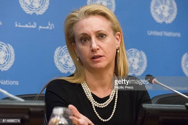 Lara Friedman speaks with the press Following an Arriaformula meeting of the United Nations Security Council on the matter of illegal Israeli...