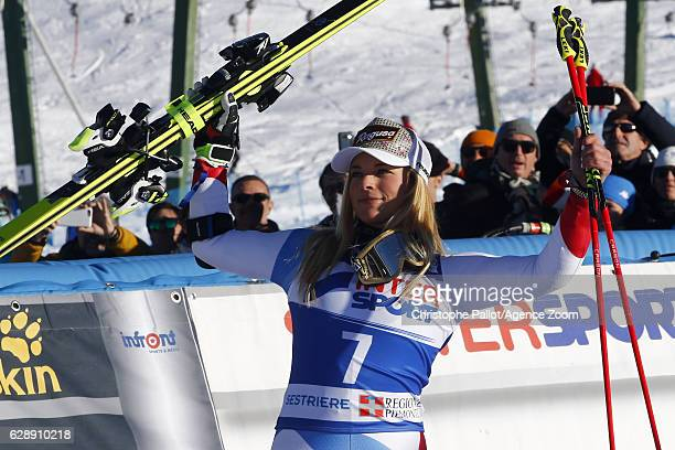 Lara Gut of Switzerland celebrates during the Audi FIS Alpine Ski World Cup Women's Giant Slalom on December 10 2016 in Sestriere Italy
