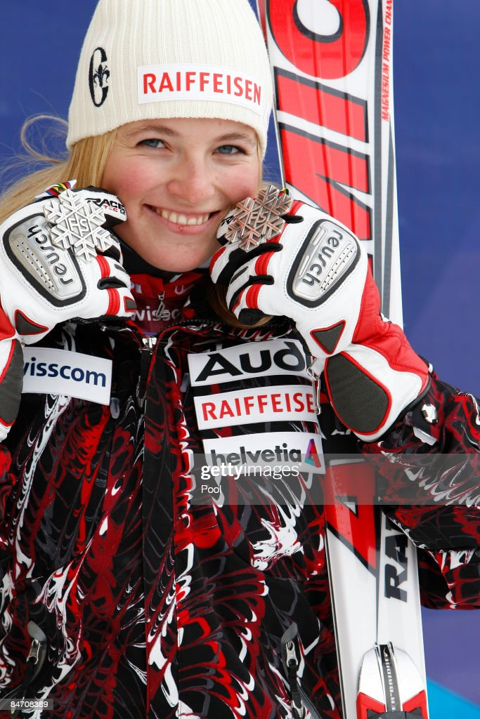Lara Gut of Switzerland celebrates with her silver medal as she finishes in second place during the Women's Downhill event held on the Face de Solaise course on February 9, 2009 in Val d'Isere, France.
