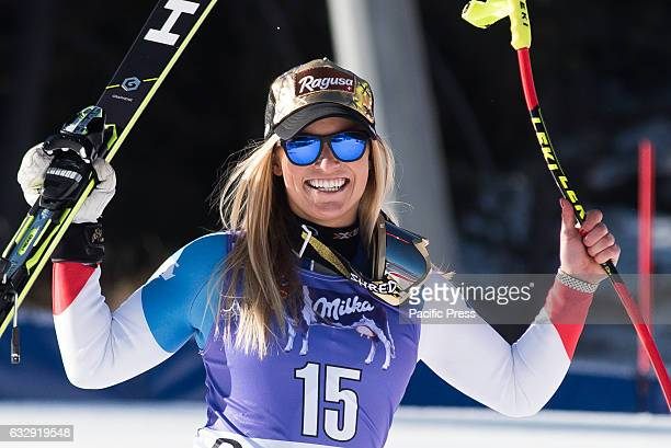 AMPEZZO ITALY CORTINA D'AMPEZZO DOLOMITES ITALY Lara Gut of Switzerland celebrating her first place at the Downhill race in Cortina dAmpezzo Italy on...