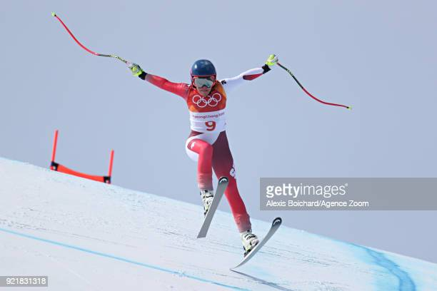 Lara Gut of Switzerland competes during the Alpine Skiing Women's Downhill at Jeongseon Alpine Centre on February 21 2018 in Pyeongchanggun South...
