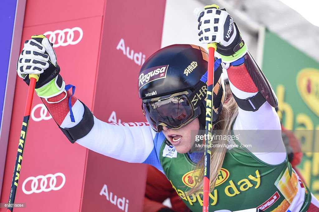 Lara Gut of Switzerland competes during the Audi FIS Alpine Ski World Cup Women's Giant Slalom on October 22, 2016 in Soelden, Austria