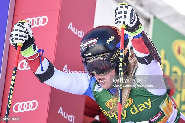 Lara Gut of Switzerland competes during the Audi FIS Alpine Ski World Cup Women's Giant Slalom on October 22 2016 in Soelden Austria