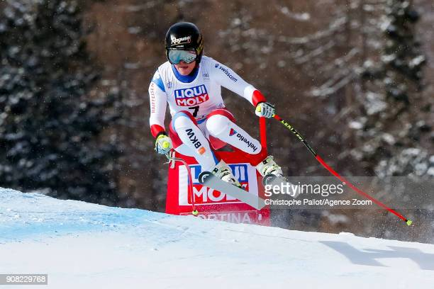 Lara Gut of Switzerland competes during the Audi FIS Alpine Ski World Cup Women's Super G on January 21 2018 in Cortina d'Ampezzo Italy
