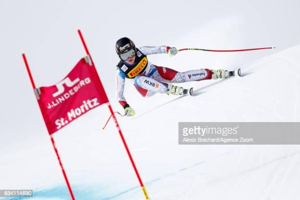 Lara Gut of Switzerland competes during the FIS Alpine Ski World Championships Women's SuperG on February 07 2017 in St Moritz Switzerland