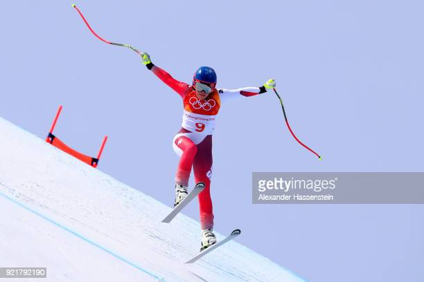 Lara Gut of Switzerland competes during the Ladies' Downhill on day 12 of the PyeongChang 2018 Winter Olympic Games at Jeongseon Alpine Centre on...