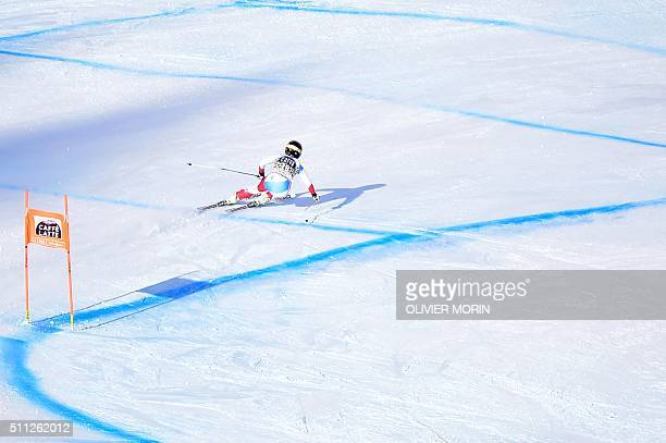 Lara Gut of Switzerland competes in the FIS Alpine Skiing World Cup Women's Downhill on February 19, 2016 in La Thuile, northern Italy. AFP PHOTO /...