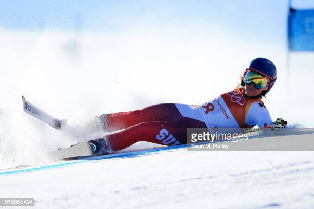 Lara Gut of Switzerland crashes during the Ladies' Giant Slalom on day six of the PyeongChang 2018 Winter Olympic Games at Yongpyong Alpine Centre on...