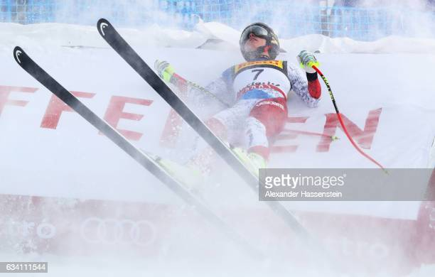 Lara Gut of Switzerland crashes during the Women's Super G during the FIS Alpine World Ski Championships on February 7 2017 in St Moritz Switzerland