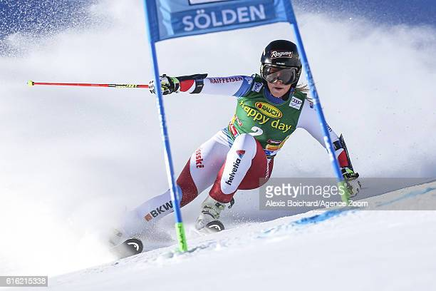 Lara Gut of Switzerland in action during the Audi FIS Alpine Ski World Cup Women's Giant Slalom on October 22 2016 in Soelden Austria
