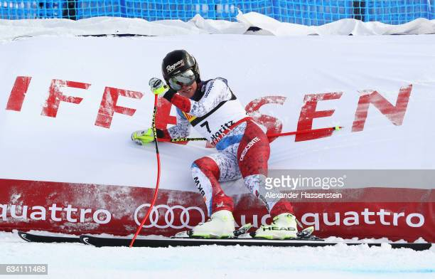 Lara Gut of Switzerland looks on during the Women's Super G during the FIS Alpine World Ski Championships on February 7 2017 in St Moritz Switzerland
