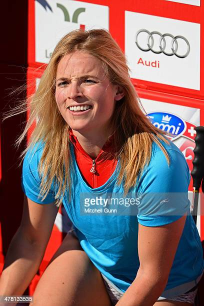 Lara Gut of Switzerland looks on the finish area of the Audi FIS Alpine Skiing World Cup Finals downhill on March 12 2014 in Lenzerheide Switzerland